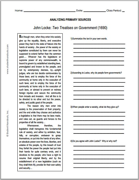 John Locke - Enlightenment - Two Treatises on Government Primary Source Worksheet for Grades 9-12