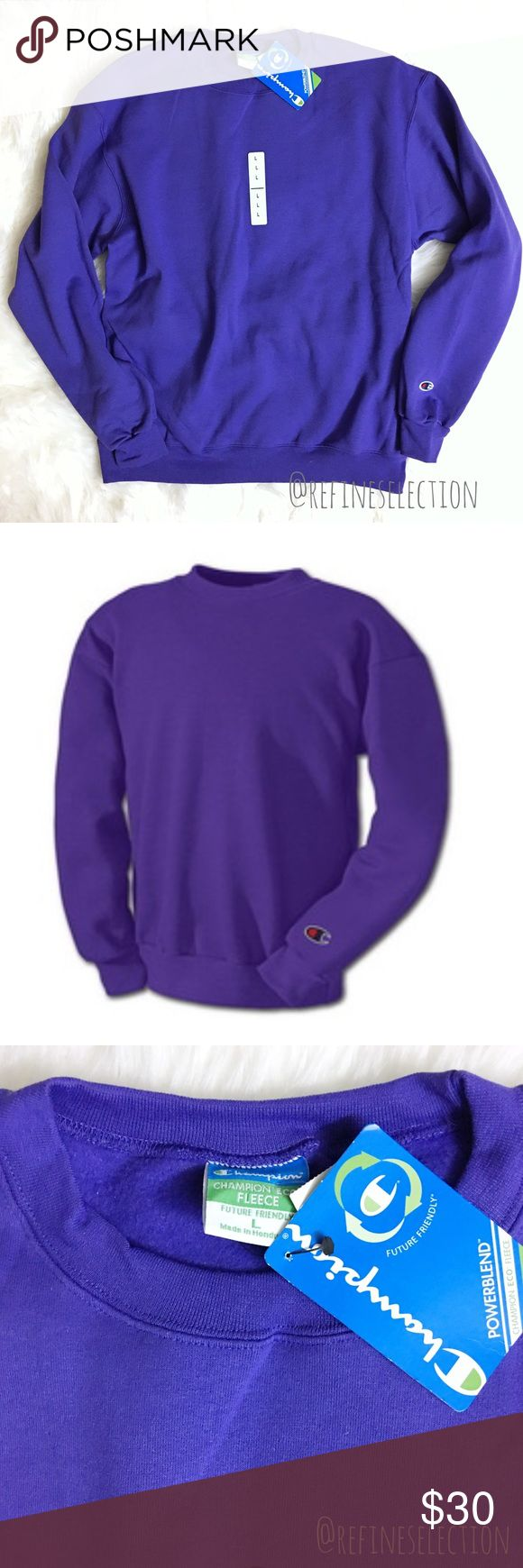 Champion Eco Fleece Purple Crewneck Sweatshirt Brand new with tags, Men's size Large. This Champion Eco Fleece Purple Crew Sweatshirt is classic and so trend right now! The purple color adds a vintage, retro feel. Has the Champion iron on logo on the left sleeve. Interior is made of brushed fleece, which makes this so soft and warm. Made of 50% Cotton and 50% Polyester. Champion Shirts Sweatshirts & Hoodies