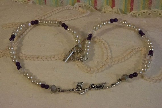 Jewellery Necklace Birds Pendant with Pearls Purple and Crystals