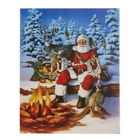 Lighted pictures make great gifts. Many styles and themes available, and no check out lines in our online store! (http://shelleybhomeandholiday.com/raz-lighted-canvas-santa-in-forest-with-animals-20-inches/)