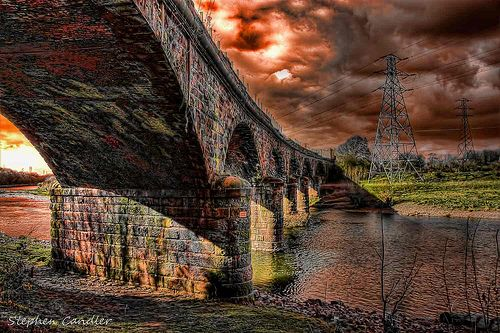 Abandoned viaduct over the River Eden, Carlisle, Cumbria, England