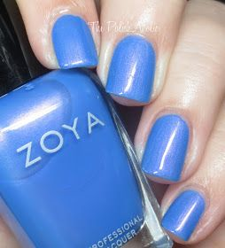 Zoya: 💙 Saint 💙 ... a blue leaning periwinkle nail polish with a strong pink shimmer. The shimmer is more noticeable in real life.  From the Holiday 2016 Enchanted Collection