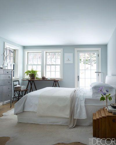 elle decor modern pastoral | Master Bedroom - ELLE DECOR. love the gray furniture with the Benjamin Moore Stirling blue walls.