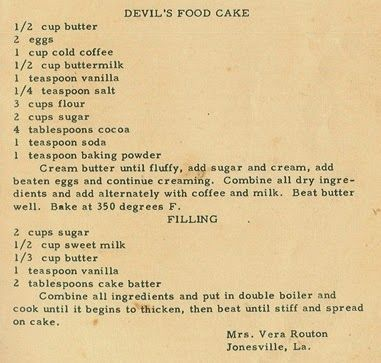 Roots from the Bayou : Family Recipe Friday - Devil's Food Cake #genealogy #familyhistory