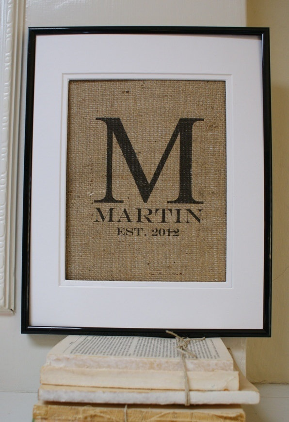 Art Now this is wedding decor i would actually hang in my house. ORIGINAL Modern Monogram with Name and Est Date crafts: Decor, Gifts Ideas, Frames, Burlap Monograms, Burlap Signs, Modern Monograms, Diy, Wedding Gifts, Monograms Burlap