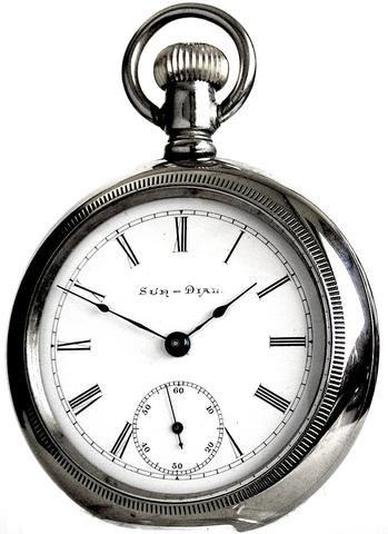 Elgin Sun Dial Grade Antique Pocket Watch 7 Jewels 18 Size Nickel Case Circa 1898