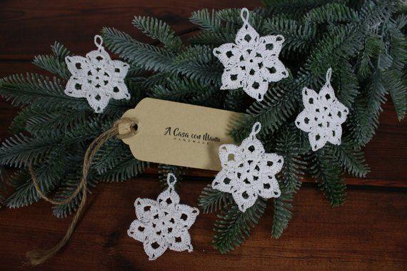 5 Stelle Natalizie Ad Uncinetto Decorazione Per Lalbero Christmas