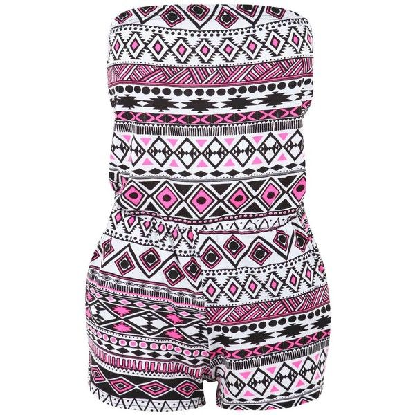 Pink Aztec Playsuit ($16) ❤ liked on Polyvore featuring jumpsuits, rompers, dresses, playsuits, jumpers, jumpsuit, pink rompers, strapless romper jumpsuit, strapless jumpsuit and aztec jumpsuit