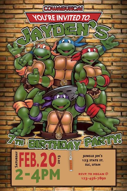 Teenage Mutent Ninja Turtles Birthday Invitation (2)