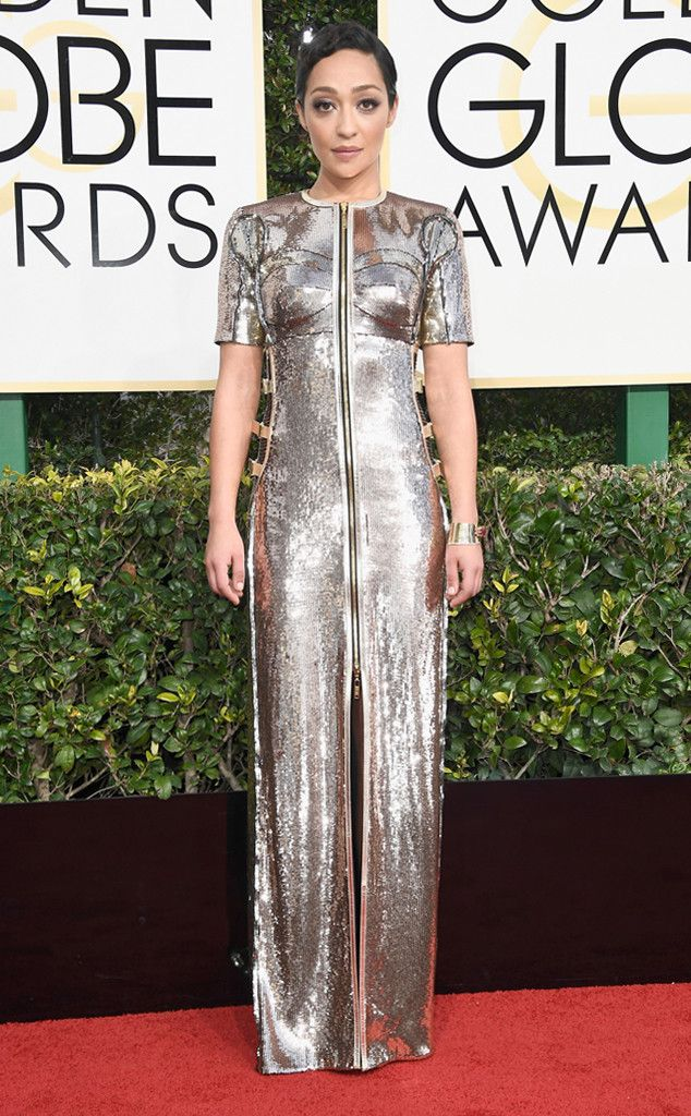 Ruth Negga from Best Dressed at Golden Globes 2017  The Loving actress is one to watch, both for her onscreen performances and stylistic point of view. The metallic column dress looks like a suit of armor only future badass Hollywood starlets can wear.