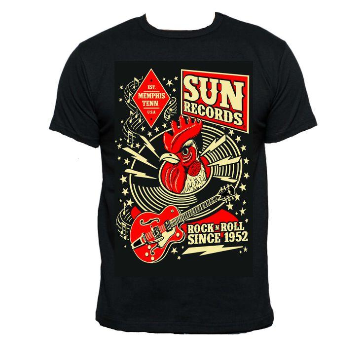 Sun Records Mens Rock N Roll Hop Black T-Shirt