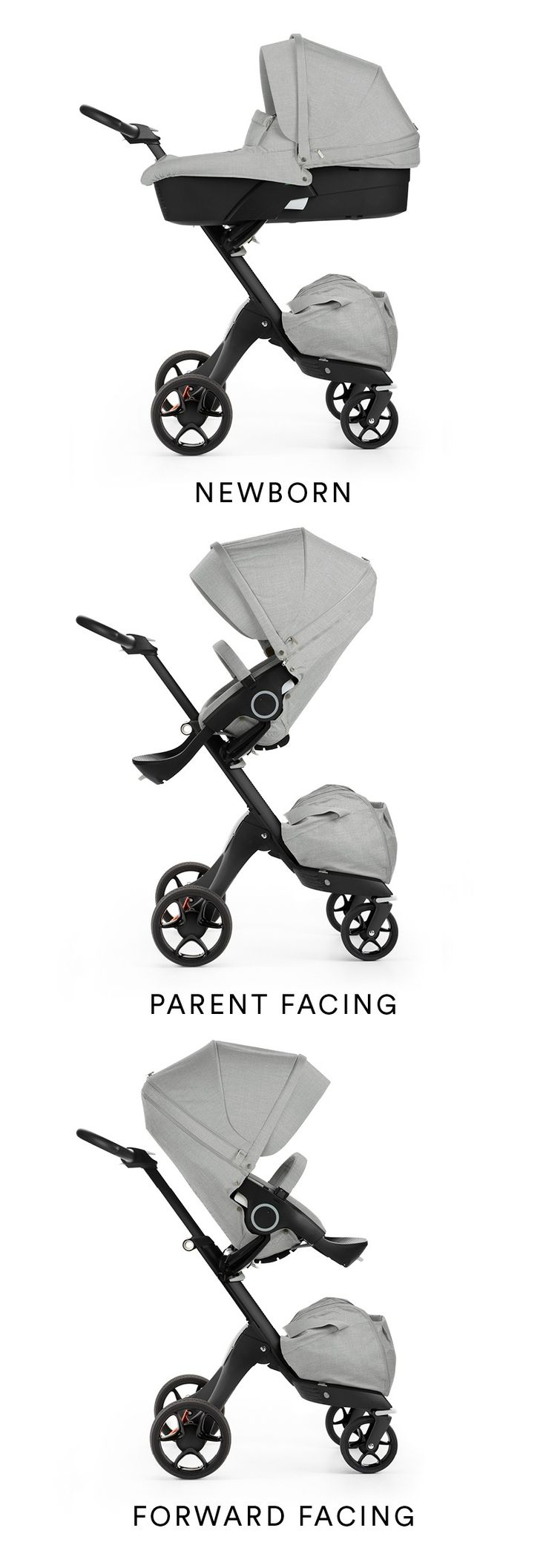 Stokke® Xplory® introduces the all Black Chassis stroller. Front or rear facing with a five point safety harness, adjustable footrest and handle, Stokke® Xplory® provides an almost endless choice of seating positions to adapt to you and your baby's ever-changing needs.