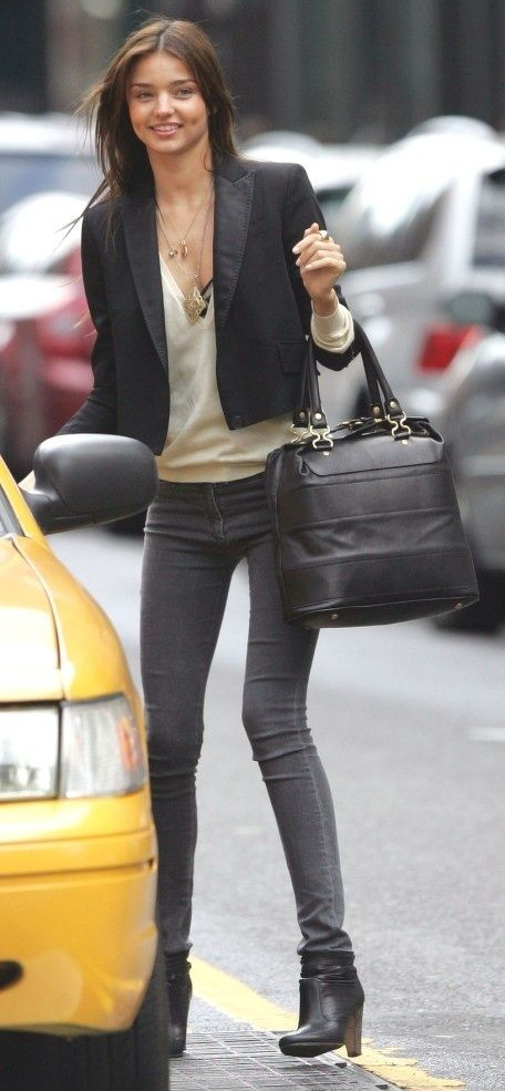 Grey jeans, cream top, black blazer and boots