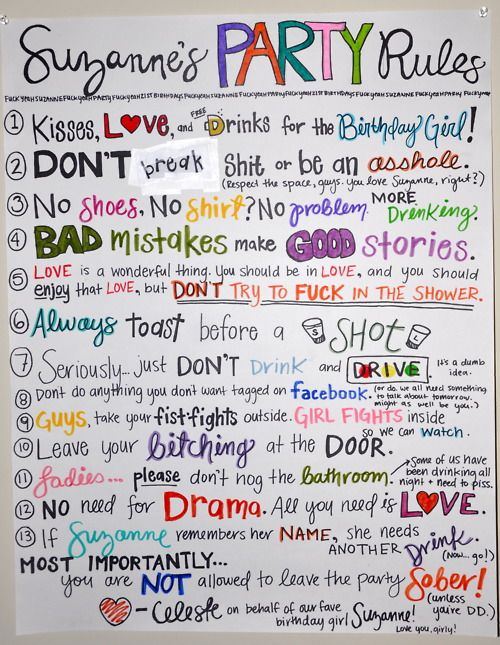 Here are Suzanne's Party Rules - What are Yours? by Jon @ The Campus Companion