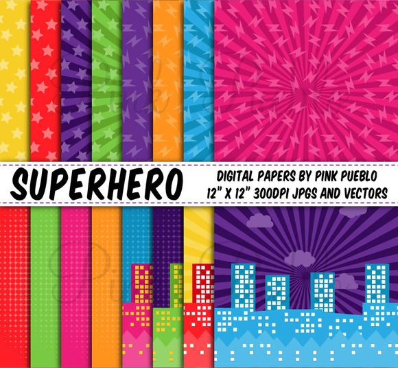 Superhero Backgrounds or Papers ~ Patterns on Creative Market
