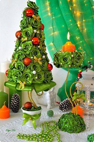 Бонсай топиарий ёлка Новый год Моделирование конструирование Новогодний декор Ленты фото 2