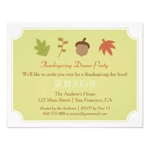 332 best thanksgiving invitations images on pinterest modern autumn green thanksgiving dinner party card stopboris Image collections