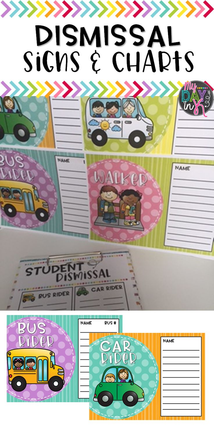 Dismissal Signs and Charts to organize student transportation information.  Print and Write or Type and Print Options.  Click the picture to read more.