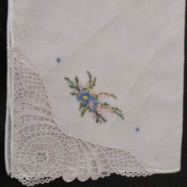 Floral Vintage Hand Embroidered and Crocheted Hanky Handkerchief  Blue/Lilac, yellow, pink and green Flowers Floral Crochet Cross Stitch by awesome80s on Etsy