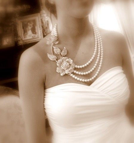 Bridal statement necklace pearl necklace