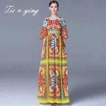 Женщины длинное платье 2016 весна новая Американская и Европейская мода впп люксовый бренд одежды элегантный печати бальное платье макси платье(China (Mainland))