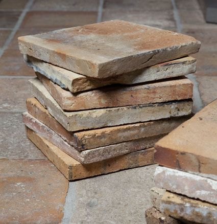 Antique French floor tiles, interior, flooring, red and warm tiles