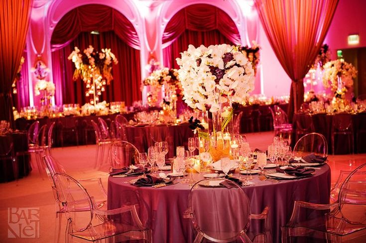 Marsala wedding decor modern wedding reception for Decorating chairs for wedding reception