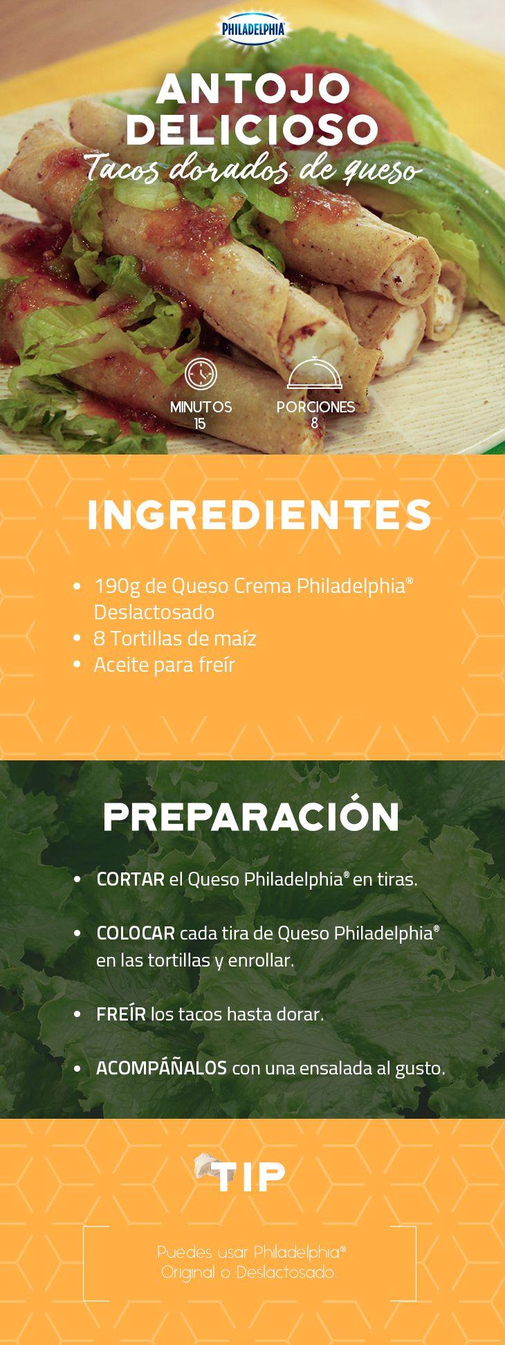 Lo mejor de este día será saborear unos Tacos dorados de queso con toda tu familia. #recetas #receta #quesophiladelphia #philadelphia #crema #quesocrema #queso #comida #cocinar #cocinamexicana #recetasfáciles #recetasPhiladelphia #recetasdecocina #comer #tacos #tacosdorados #comida #comidaenfamilia #antojo #antojitos #comidamexicana