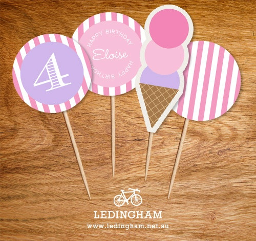 Pink Ice Cream Party Theme Cupcake