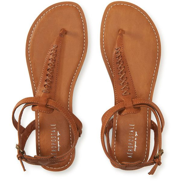 Aeropostale Stitched Accent T-Strap Sandal featuring polyvore, fashion, shoes, sandals, clothing, flats, sapatos, dark brown, party sandals, t strap sandals, flats sandals, dark brown flats and ankle tie sandals