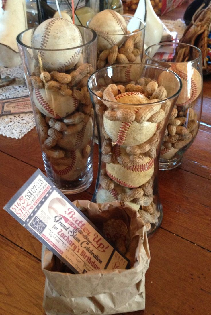 Art Party center pieces ! Out door BBQ BASEBALL PARTY THEME…