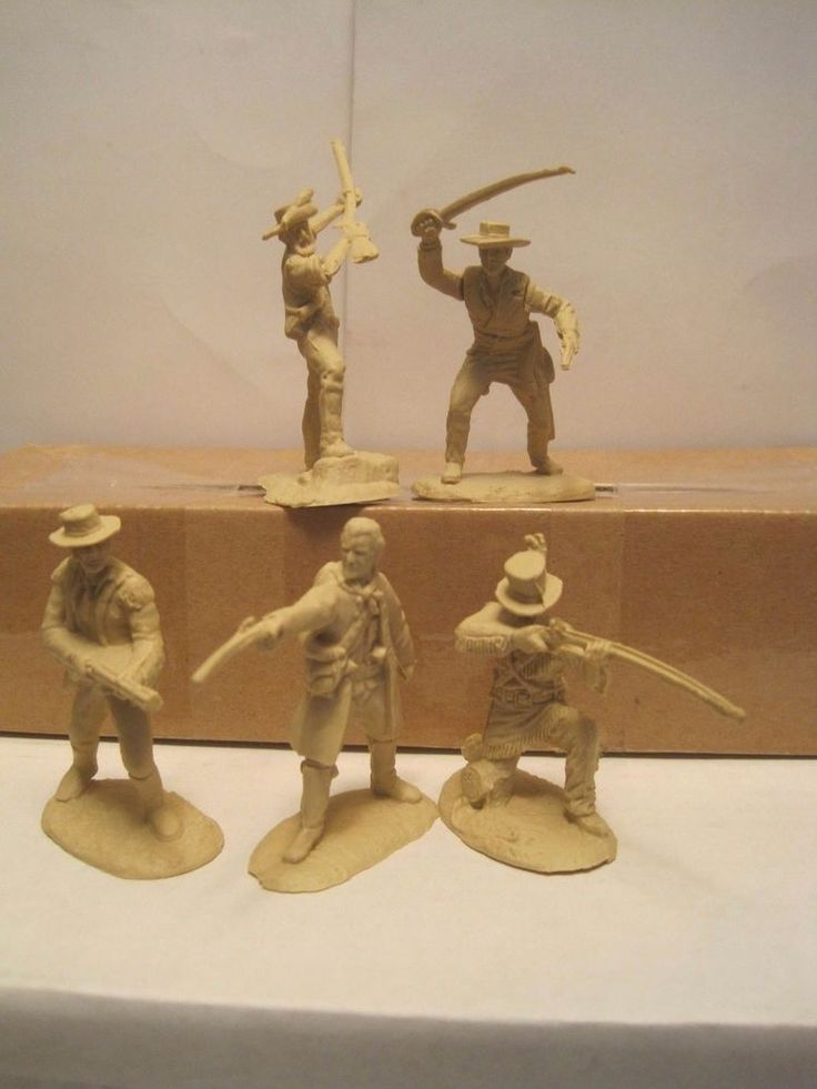 MARX CONTE ALAMO PLAYSET 5 PIONEERS FRONTIERSMEN 60MM TAN PLASTIC TOY SOLDIERS #CONTE