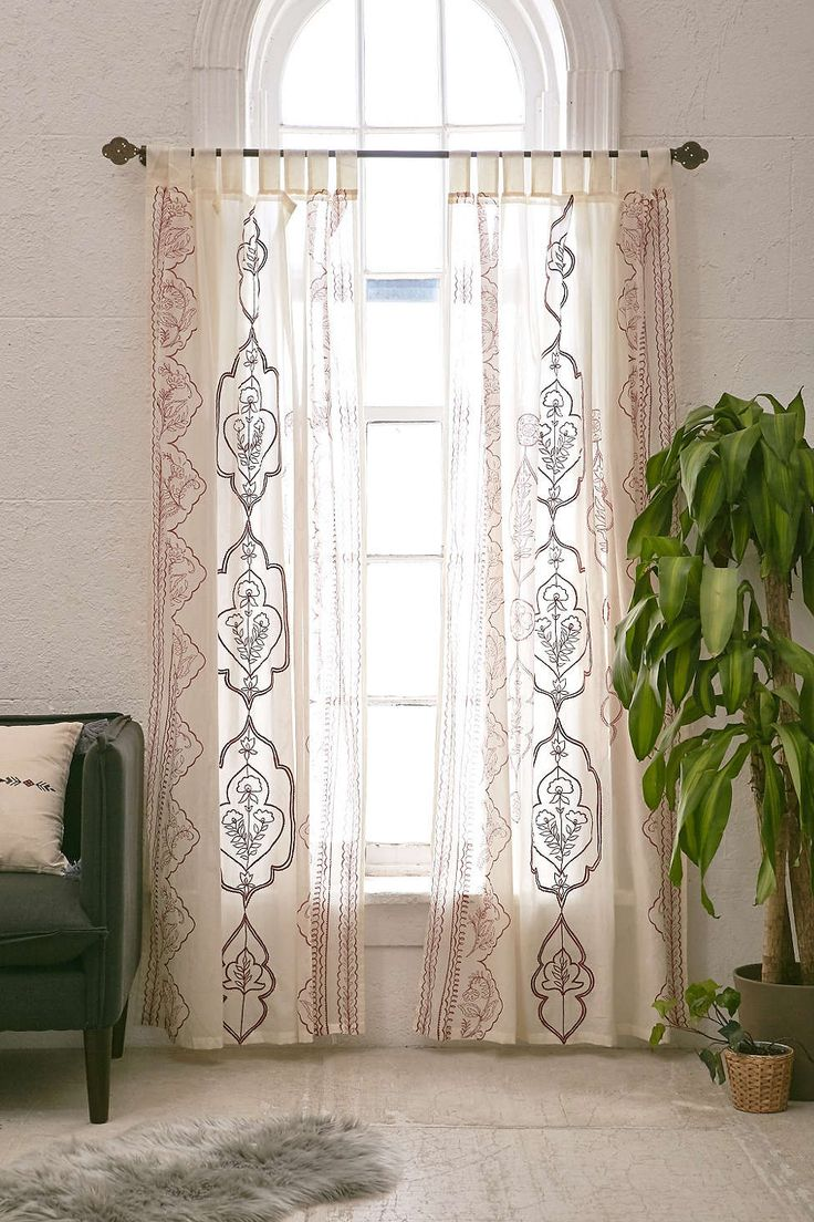 Boho window curtains - Jazmin Embroidered Curtain Boho Curtainspurple Curtainswindow