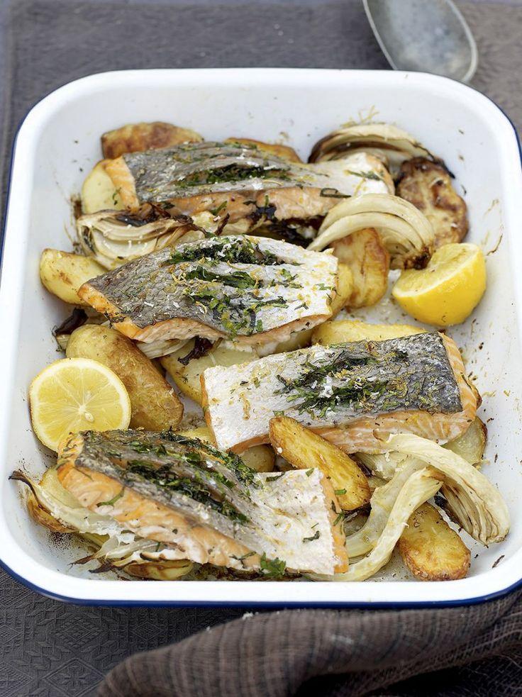 Quick salmon and potato al forno    Sue loved it. J&K like it
