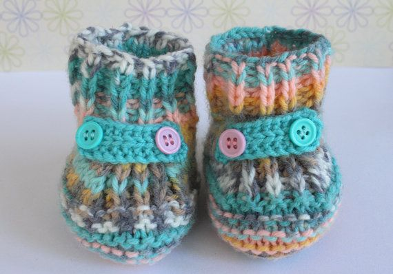 Fairisle Booties Turquoise Booties Colourful Crib by Pinknitting