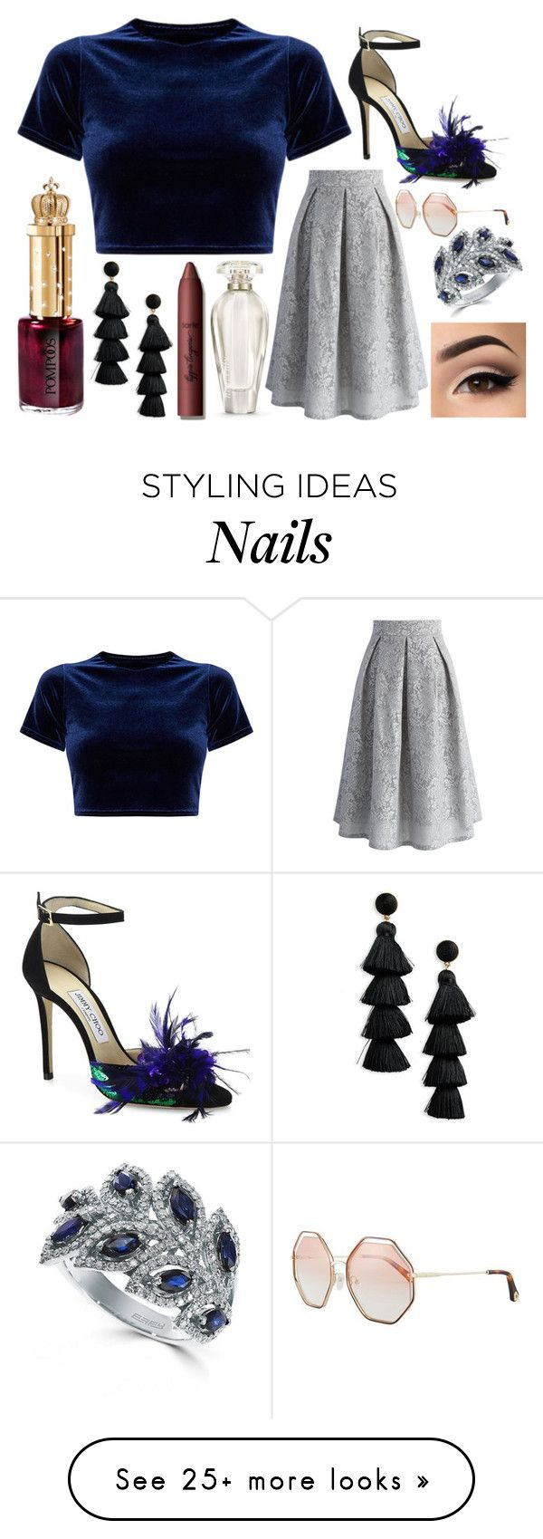 """""""A Tall Glass"""" by puppydog28 on Polyvore featuring Victoria's Secret, Chicwish, tarte, BaubleBar, Jimmy Choo, Effy Jewelry and Chloé"""