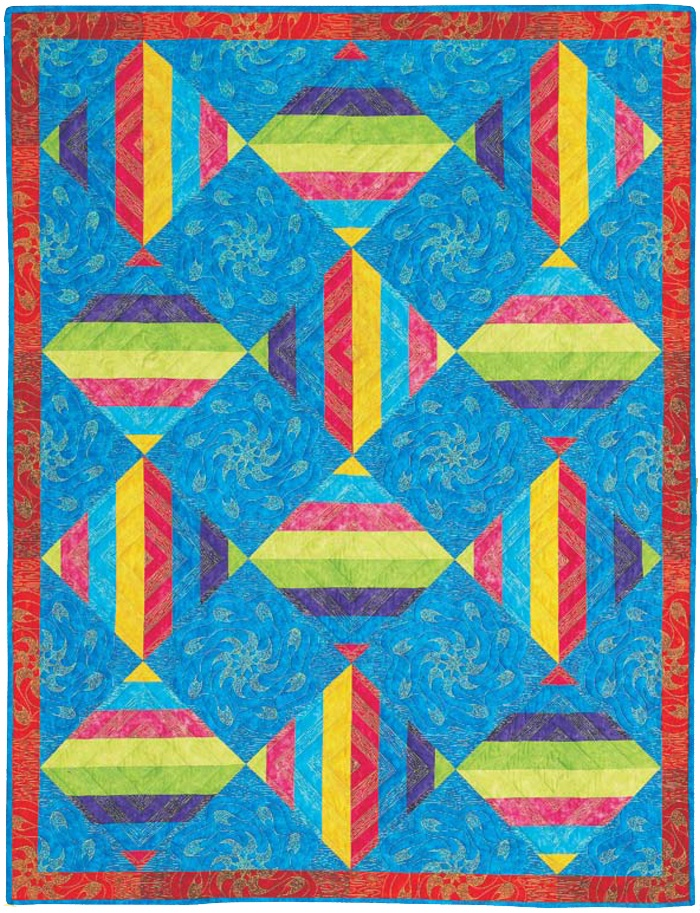 Easy Quilt Patterns Using Precuts : Citrus quilt by Suzanne McNeill. Precut strips in jelly rolls make this quilt super quick and ...