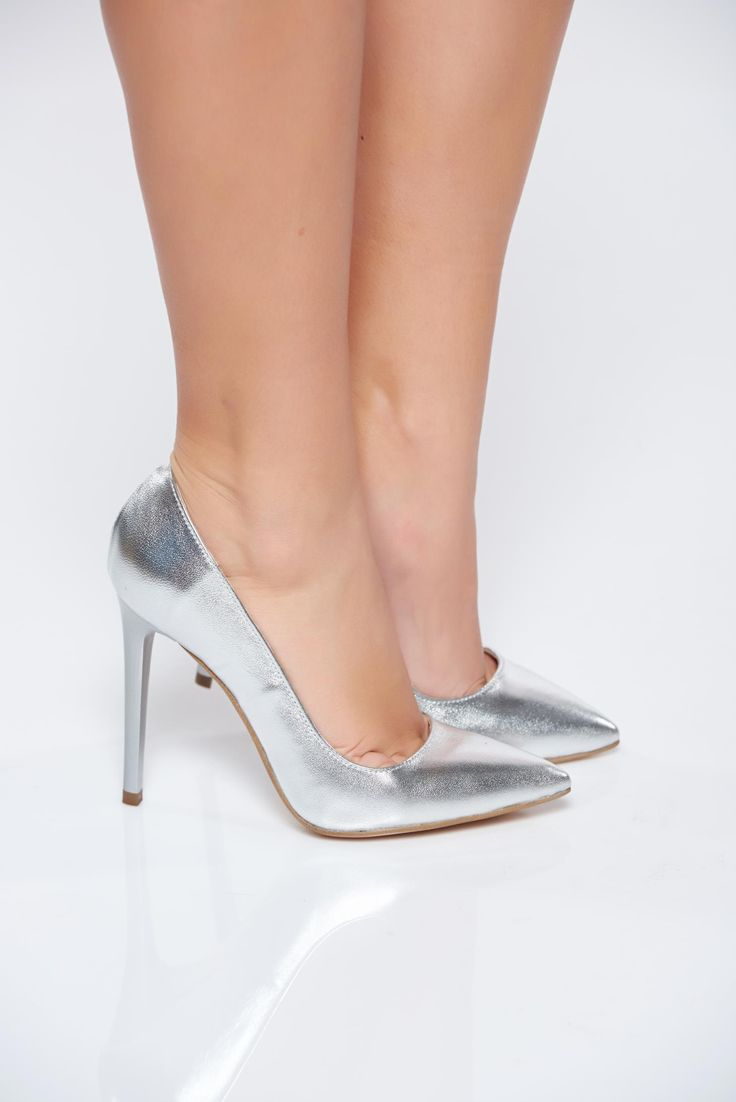 Silver shoes natural leather stiletto with high heels, stiletto, high heels, slightly pointed toe tip