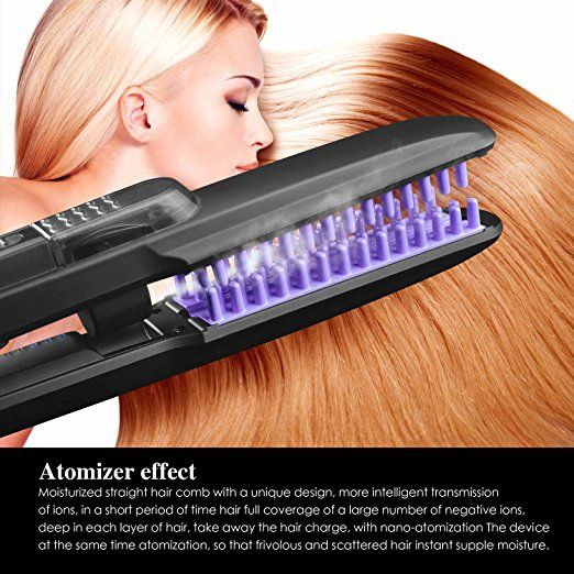 Amazon.com : Straightening Brush, Women Steam Hair Straightener Brush Hair Care Straightening Brush Comb with PTC Faster Heating Support Home, Work, Dating, Travel, Salon (US Plug, Black) : Beauty