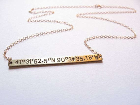 We love this classic necklace! We engrave a set of coordinates of your choosing on this bar pendant, suspended on a chain of your choice. It comes
