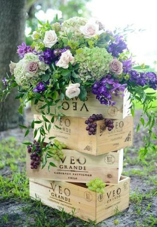 wine box floral tower