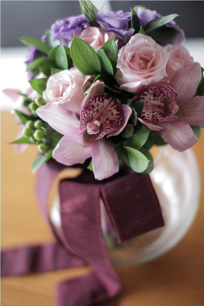 Pink Rose, mauve Cymbidium & purple Lisianthus by Tirtha Bridal Uluwatu Bali #wedding #bouquet