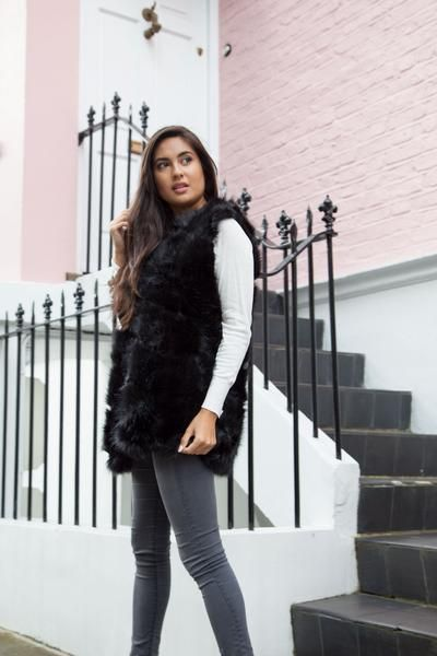 Styled in London Website, Styled in London Clothes, Fake Fur Winter Coat, Black Faux Fur Gilet, Boxy Soft Faux Fur Gilet Jacket Vest Coat, Fake Fur
