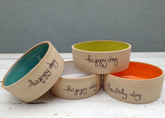 Personalized Dog Bowl Ceramic Dog Dish Happy Dog by jclayPottery, $35.00