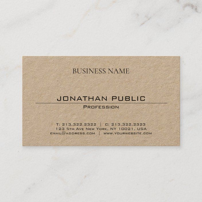 Minimalist Elegant Modern Trendy Brown Kraft Paper Business Card Zazzle Com Business Card Minimalist Brown Kraft Paper Business Card Modern