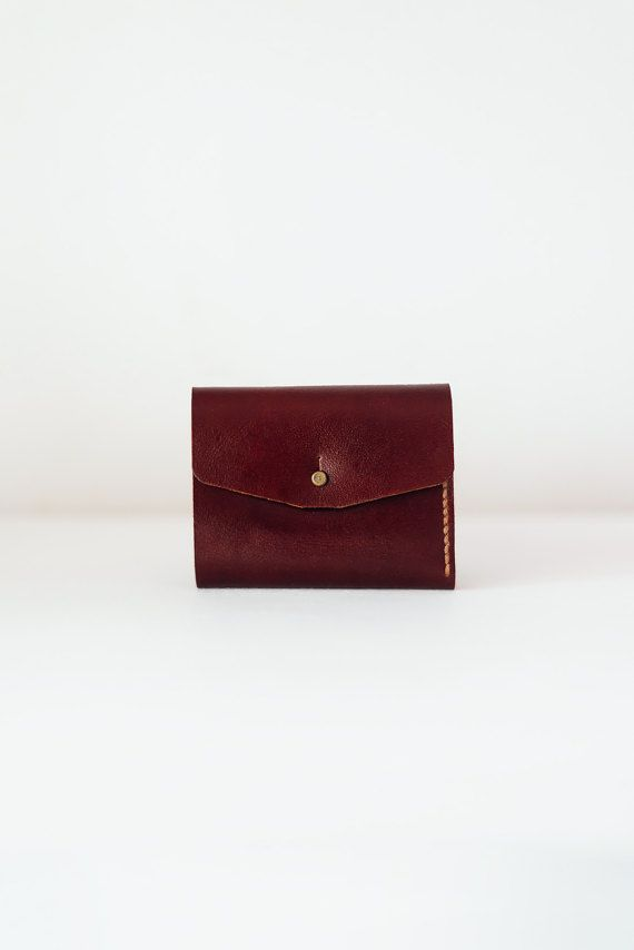 Leather wallet Maroon leather wallet Minimalist by TOMBERgoods