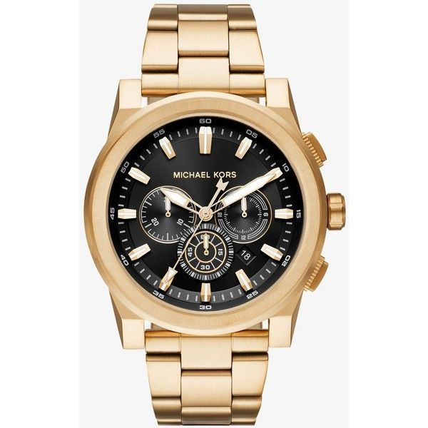 Michael Kors Michael Kors Grayson Gold-Tone Watch ($275) ❤ liked on Polyvore featuring men's fashion, men's jewelry, men's watches, michael kors mens watches, mens analog watches, mens leather strap watches, mens gold tone watches and mens chronograph watches
