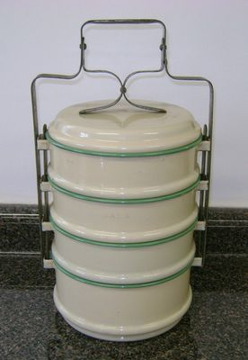 Original Vintage European Enamelware Cream and Green Tiffin Meal Carrier WOW | eBay