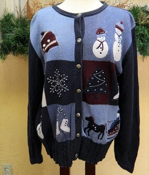 Womens L(14 16) Christmas Cardigan Sweater Blue Multi Buttons LS Snowman Santa #HolidayLodge #Cardigan #Christmas