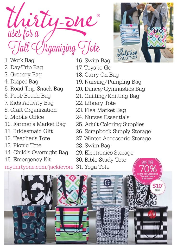 Thirty-One uses for the Tall Organizing Tote! January 2017 Customer Special - $10 for every $35 Spent.
